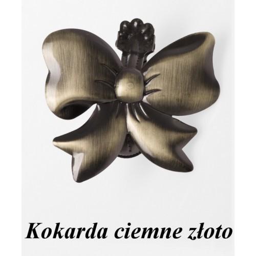 Klamra ozdobna do firan - Kokarda ciemne złoto